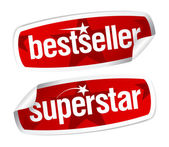 Bestseller en superster stickers. — Stockvector
