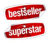 En çok satanlar ve superstar çıkartma. — Stok Vektör