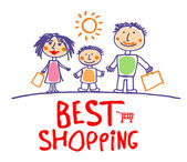 Best sale shopping illustration with family. — Stock Vector
