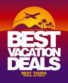 Beste vakantie aanbiedingen ontwerpsjabloon. — Stockvector