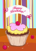 Happy Birthday card with cake. — Stock Vector