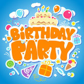 Modelo de design de festa de aniversário. — Vetorial Stock