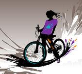 Biker girl silhouette. — Stock Vector