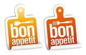 Bon appetit samolepky sada. — Stock vektor