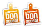 Bon appetit stickers set. — Vector de stock
