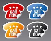 Zadzwoń teraz naklejki. — Wektor stockowy