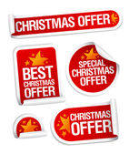 Best Christmas offers stickers. — Vector de stock