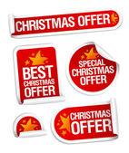 Mejor navidad ofrece etiquetas engomadas. — Vector de stock