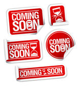 Coming soon stickers. — Vector de stock