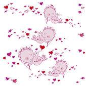 Fond avec les cœurs et les amours — Vecteur