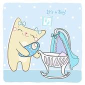 Baby boy dusch kort. — Stockvektor