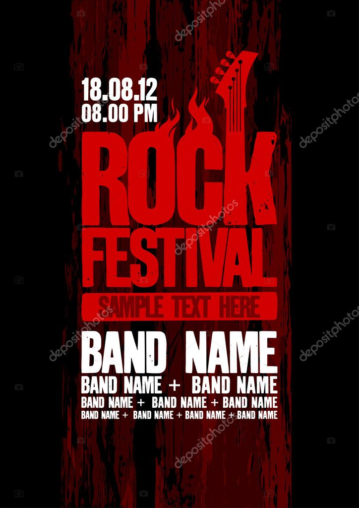 Rock festival design template with bass guitar and place for text. — Stock Vector #14203892
