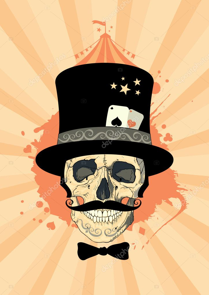 Circus design template with magician skull. — Stock Vector #14204145