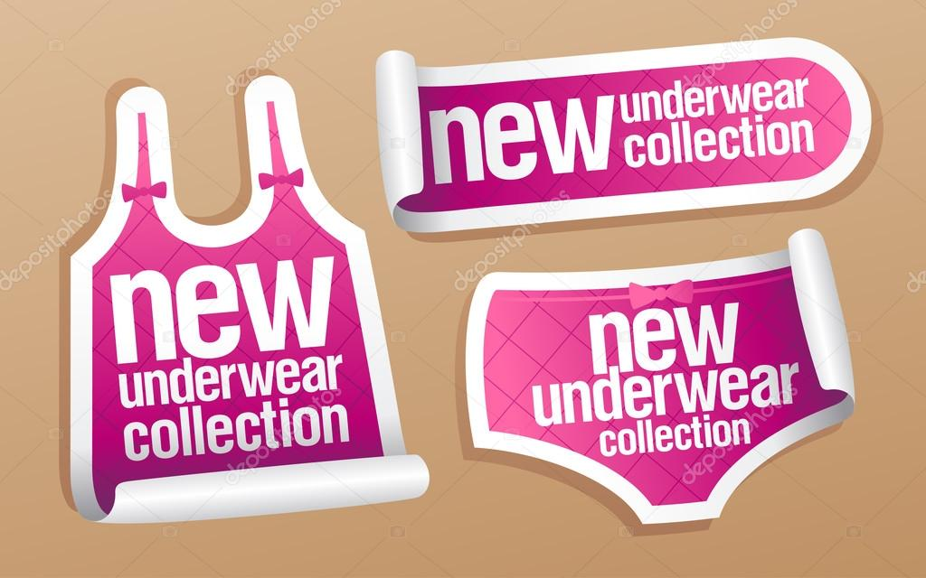 New underwear collection for women, vector stickers set. — Stock Vector #14204733