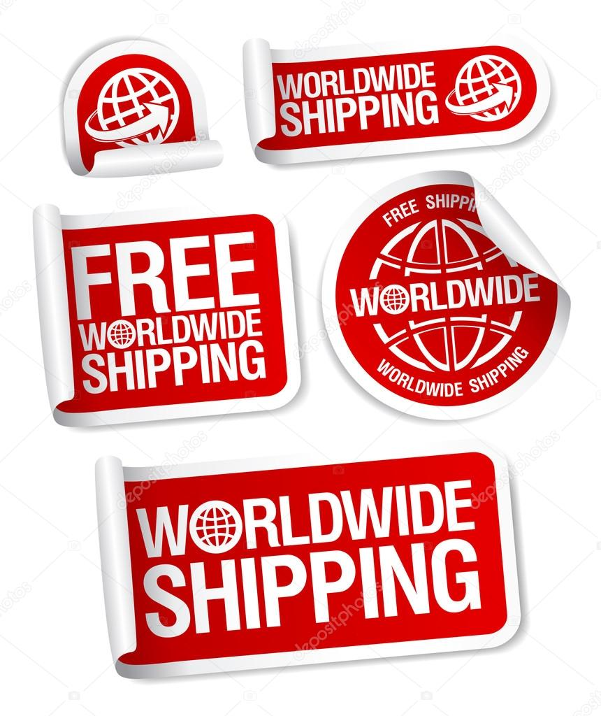 World-wide shipping stickers set. — Stock Vector #14205172