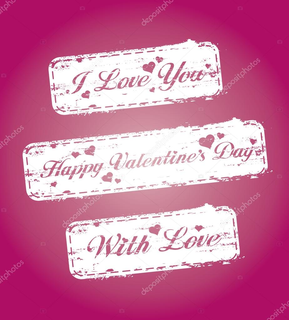 Set of Valentines stamps — Stock Vector #14205847