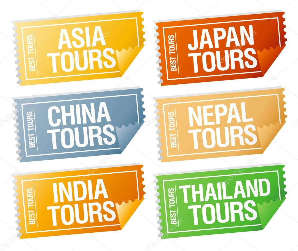 Best tours stickers in form of  tickets.  Stock Vector #14206363