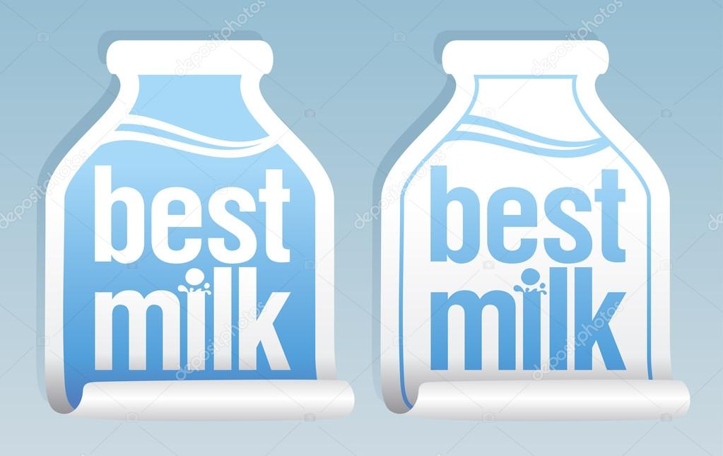 Best milk stickers in form of jug. — Stock Vector #14206529