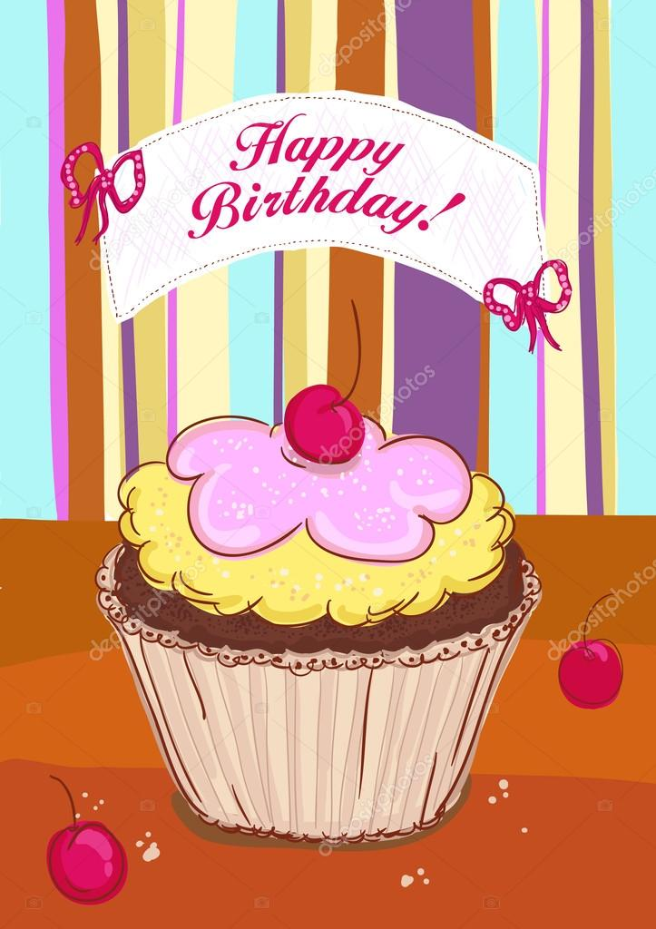 Happy Birthday card with cake Vector slena 14206647 – Birthday Cake Card Template