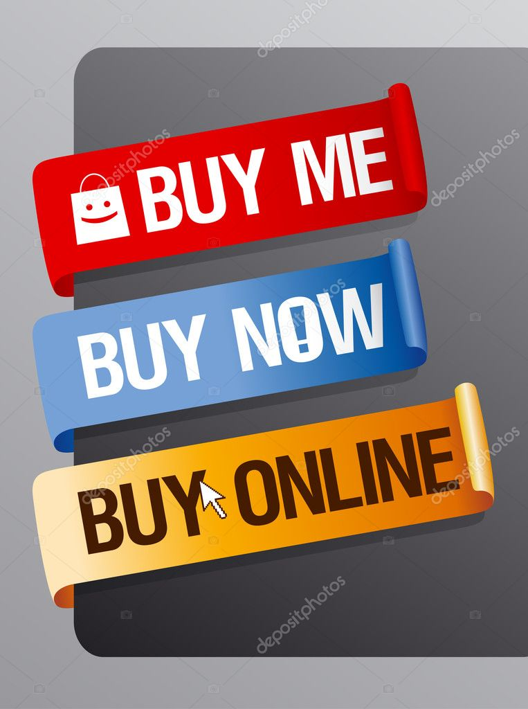 Buy now, online ribbons set.  Stock Vector #14206744