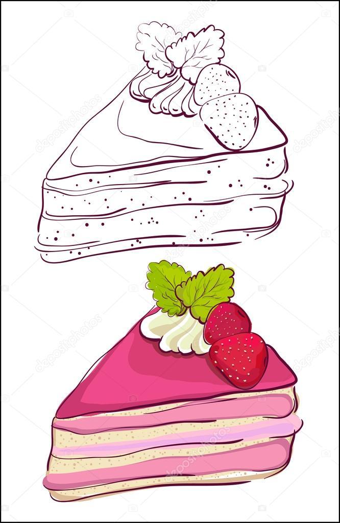 Cake Slice Cartoon Images : Cartoon slice of cake.   Stock Vector ? slena #14206785