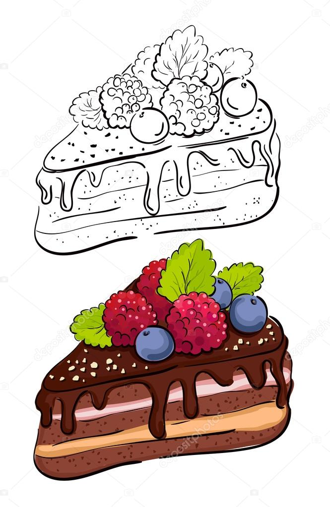Cartoon slice of cake.   Stock Vector ? slena #14206787