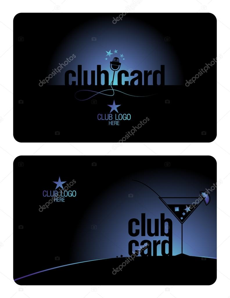 Club plastic card design template for karaoke and lounge clubs.  Stock Vector #14206888