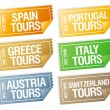Travel stickers tickets. — Stock Vector