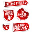 Stock Vector: Falling Prices stickers.
