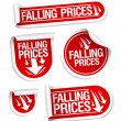 Falling Prices stickers. — Stock Vector #14210791