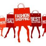 Shopping woman silhouette. — Stock Vector