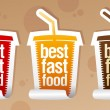Best fast food stickers. — Stock Vector #14210797