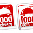 Food delivery stickers. — Stock Vector #14210830