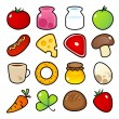 Icons with food meals. — Stock Vector