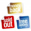 Warranty sales stickers set — Stock Vector