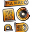 Free legal music stickers pack. — Stock Vector