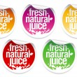 Natural juice stickers. — 图库矢量图片