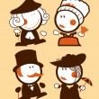 Medieval ladies and gentlemen funny - Stock Vector