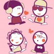 Valentine funny peoples. - Stockvectorbeeld