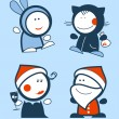 New Years Funny icons. — Stock Vector