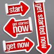 Vector de stock : Get started now stickers.