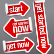 Stock vektor: Get started now stickers.