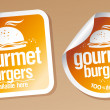 Stock Vector: Gourmet burgers stickers.