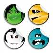 Monster smileys, halloween stickers. - Stock Vector