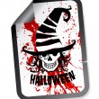 Halloween sticker with skull in hat - Stock Vector