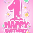 Vector de stock : Happy Birthday pink card.