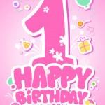 Gelukkige verjaardag roze kaart — Stockvector