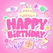 Royalty-Free Stock Vector Image: Happy Birthday pink card.