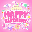 Happy Birthday pink card. — Stock Vector #14211155