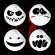Monster smileys, halloween stickers. — Vektorgrafik